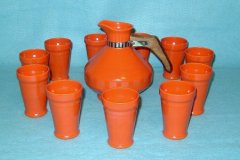 early_california_angular_tumblers_eleven_and_carafe_in_orange_beverage_set