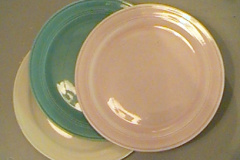 early_california_luncheon_plates_turquoise_pink_and_yellow